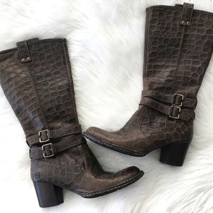 Born Lewisa Tall Leather Croc Heeled Boots Brown